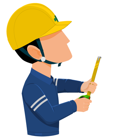 Worker is measuring with tape measure 向量圖像