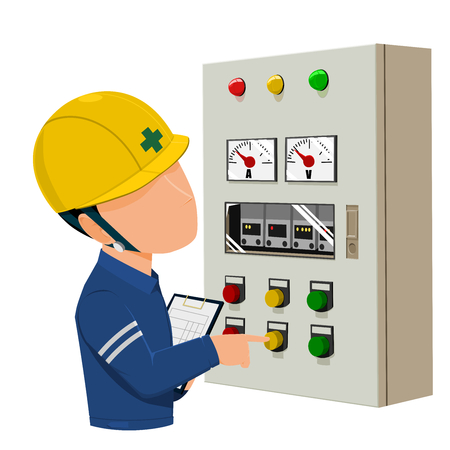 Worker operating control panel on transparent background