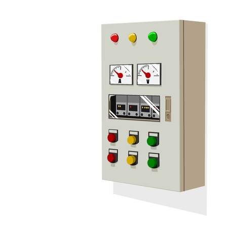 Isolated control panel on white wall