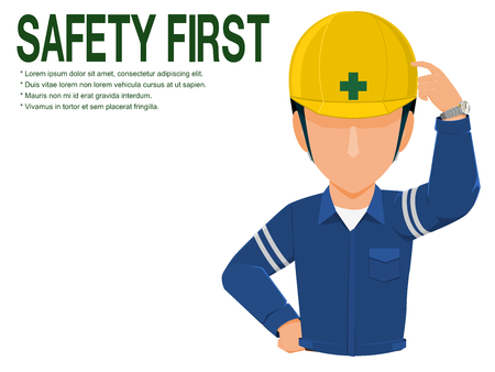 Industrial worker is advising you to realize safety on transparent background Illustration