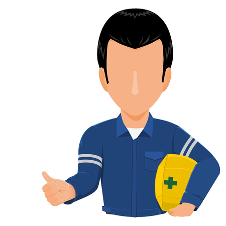 Industrial worker is gesturing thumb up on transparent background 向量圖像