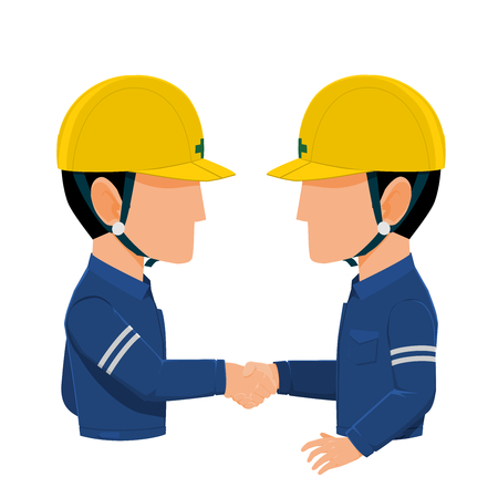 Two Industrial workers are shaking hands on transparent background