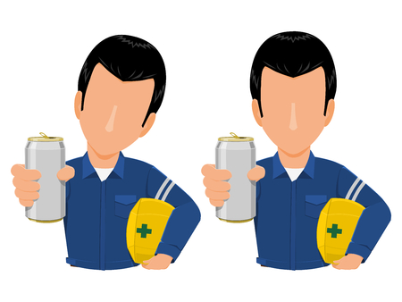 Industrial worker is giving an soft drink can on transparent background Illustration
