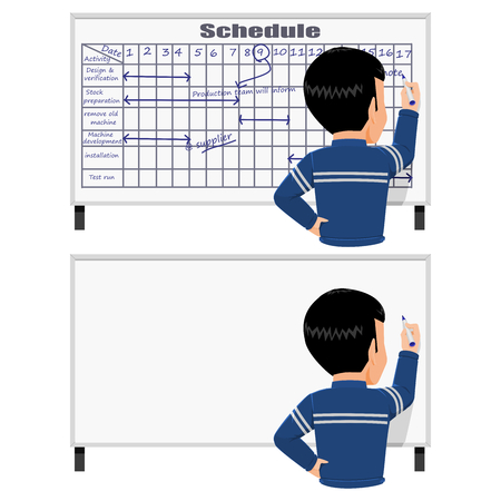 Worker is scheduling his work on the white board Vettoriali