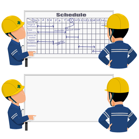 Two workers is discussing about work schedule Stock Illustratie