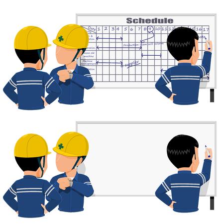 Tres trabajadores programan su trabajo en la pizarra