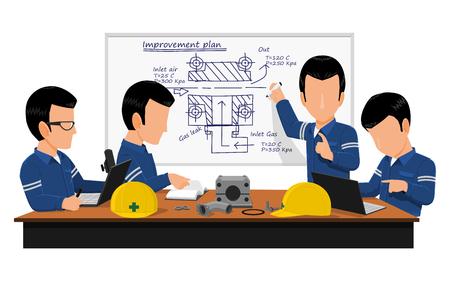Czterech inżynierów spotyka się na temat planu ulepszenia maszyny w sali konferencyjnej