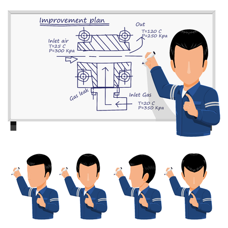 An Engineer is writing the improvement plan on the white board
