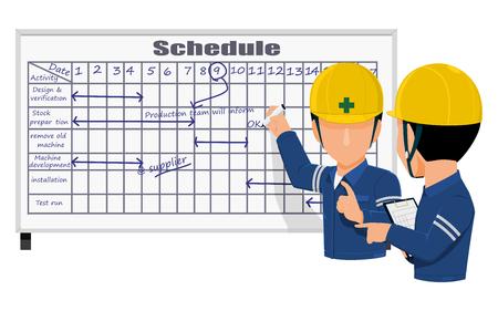 Dwóch inżynierów dyskutuje na temat harmonogramu pracy na stronie