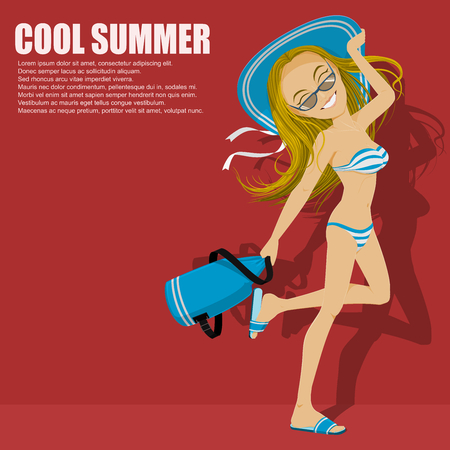 Lovely girl in bikini is going to the beach