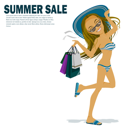 Woman in bikini is carrying many shopping bag in her hand 向量圖像