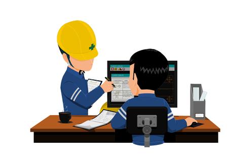 Twee ingenieurs bespreken zijn werk