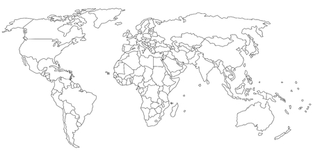 Simple outline of world map on transparent background Ilustracja