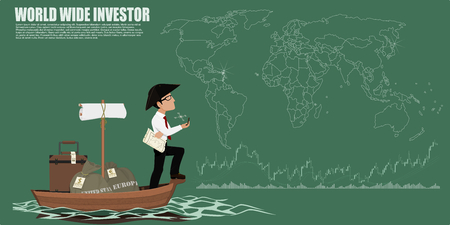 investor: World wide investor simply with  world map background