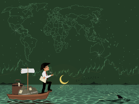 World wide investor is traveling across the ocean in the night