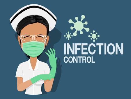 Pielęgniarka z osobistym sprzętem ochronnym w strefie zakażenia Ilustracje wektorowe