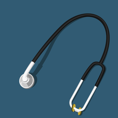 earpiece: Isolated Stethoscope on blue background