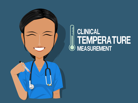 A medical staff is holding a thermometer on blue background