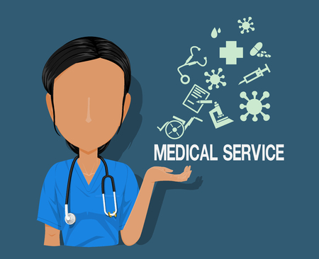 medical staff character with the medical info graphic icons on blue background 向量圖像