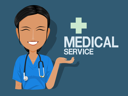 A medical staff is rising her hand to present something on blue background Illustration