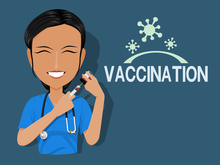 A medical staff is preparing some vaccine on blue background Çizim