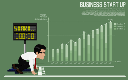 Business man is ready to run at start point on business chart background 向量圖像