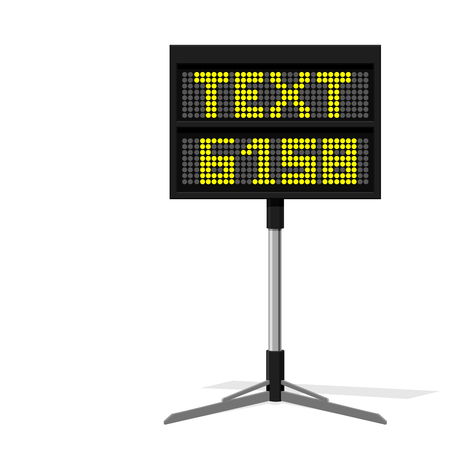 Isolate LED display board on transparent background. Light the LED for making your own text