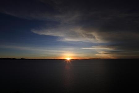 Sunset Lake Titicaca photo