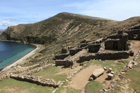 inca ruins lake titicaca photo