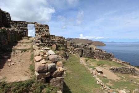 incas ruins lake titicaca photo