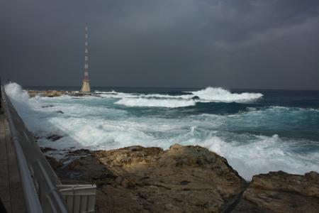 beirut: Mediterranean coast Beirut Stock Photo