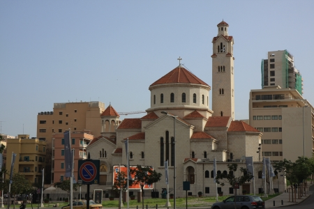beirut: Church and Mosque in Beirut Editorial