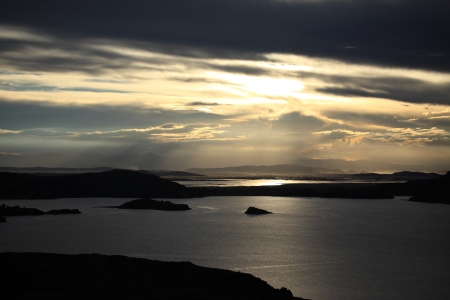Sunset Lake Titicaca photo