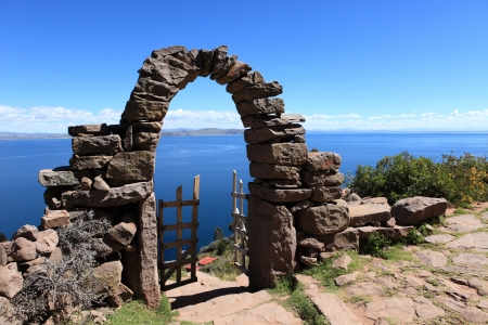 Archway at the Island Taquile Lake Titicaca Peru