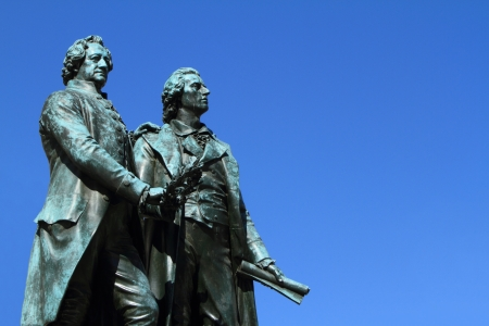 national poet: Goethe and Schiller Monument in Weimar Germany Stock Photo