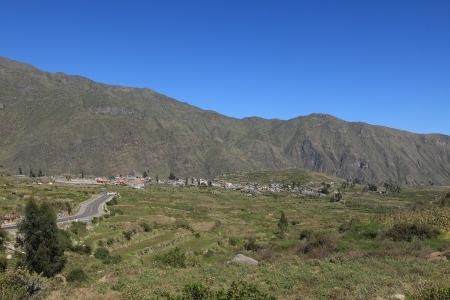 andean: Andean Landscape with Colca Canyon in Peru Stock Photo