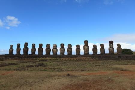 moai: Moai Statue at Easter Island Stock Photo