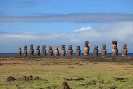 rapa nui: Estatua de Moai en la isla de Pascua