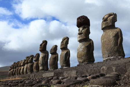 moai: Moai Statue at Easter Island Stock Photo