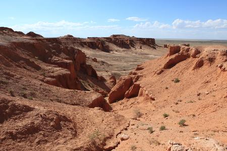 sediments: The Flaming Cliff of Bayanzag Desert of Gobi