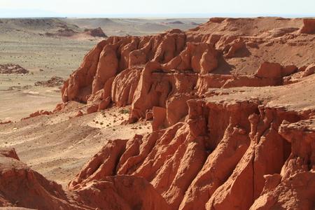 The Flaming Cliff of Bayanzag Desert of Gobi