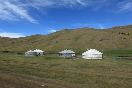 tent city: Yurt Village in Mongolia Stock Photo