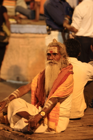 Holy Sadhu in Varanasi Stock Photo - 28965653
