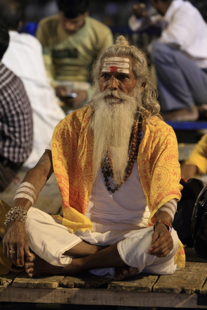 Holy Sadhu in Varanasi Stock Photo - 28965655