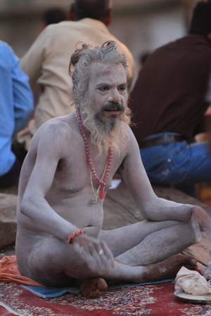 Holy Sadhu in Varanasi Stock Photo - 28967052