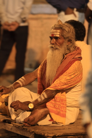 Holy Sadhu in Varanasi Stock Photo - 28967242