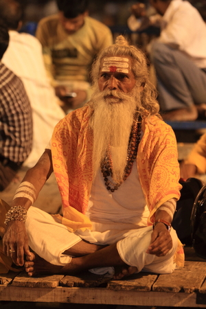 Holy Sadhu in Varanasi Stock Photo - 28967253