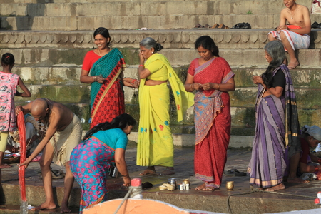 ghat: Holy bath in the River of Varanasi India