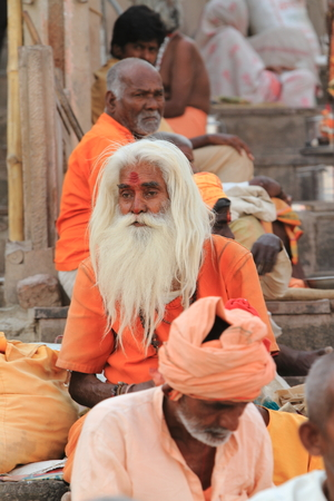Holy Sadhu in Varanasi Stock Photo - 29516047