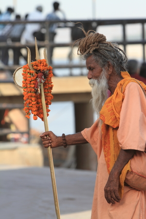 Holy Sadhu in Varanasi Stock Photo - 29516048